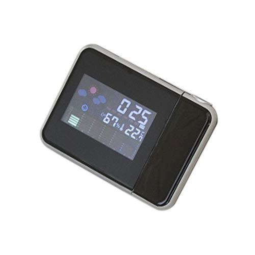 rongweiwang Wettervorhersage Projection Elektronisches Wetterwetter Uhr Uhr Snooze-Funktion Wecker-Farbbildschirm Kalender