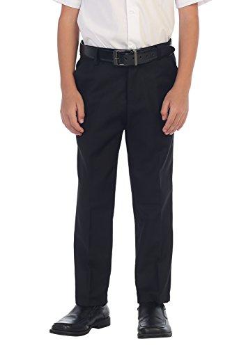 Gioberti Boys Flat Front Dress Pants, Black, 18