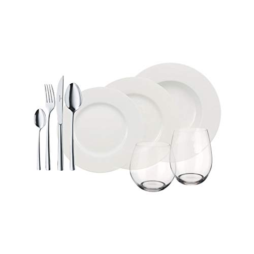 Villeroy & Boch - Wonderful World White 4 Friends Set da tavola, 36 pz servizio per feste, porcellana Premium, bianco, acciaio inossidabile 18/10, bicchiere di cristallo