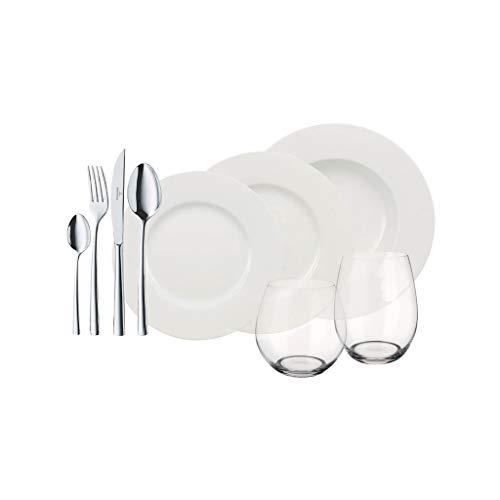 Villeroy & Boch Wonderful World White 4 Friends Service de table pour 4 personnes, 36 pièces, Porcelaine Premium/Cristal/Acier inoxydable