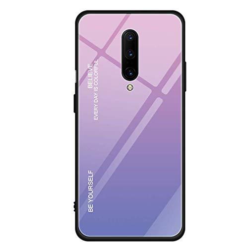 Compatible con OnePlus 7 Pro, carcasa ultrafina y dura + cristal templado, carcasa trasera resistente a los arañazos, marco de silicona, carcasa para teléfono móvil con estribo, funda gradiente rosa Talla única