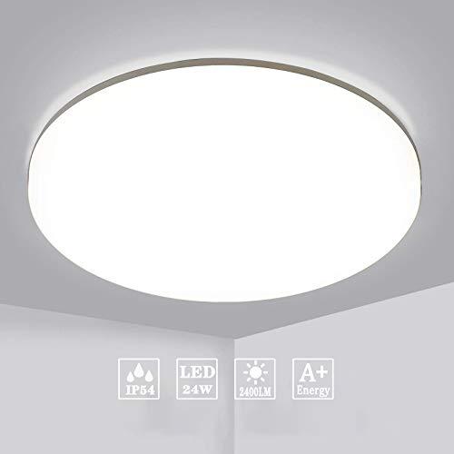 Aogled LED Plafonnier 24W 2400LM Blanc Naturel 4000K Rond 28 CM,Plafonnier Lampe Étanche IP54,180 Angle Lampe de Plafond Pour Salon,Salle de Bain,Chambre,Couloir,Cuisine,Couloir,Pas de capteur
