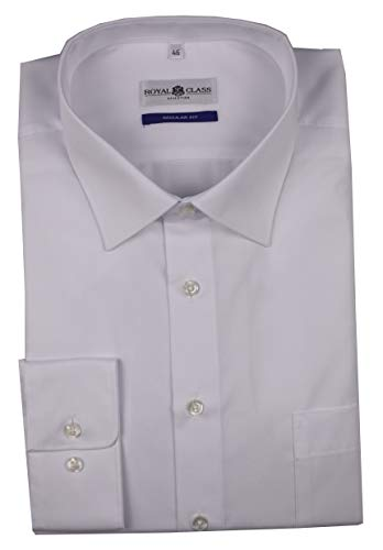 Royal Class Herren Hemd Langarm Businesshemd Bügelfrei Weiß 46 47 48 49 50 51 52 (52)