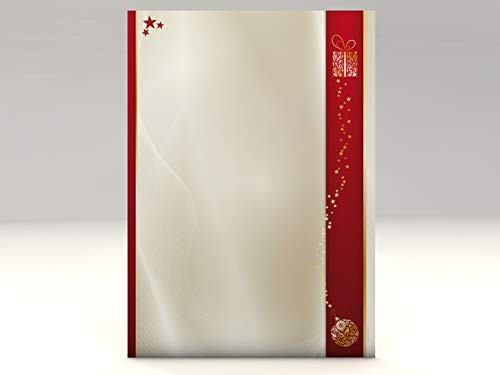Kerstbriefpapier set gouden kerst, 50 vellen motiefpapier A4 en 50 venster-brievenenveloppen