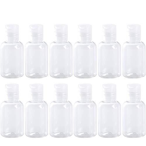 Hnmedia Lot de 12 flacons de voyage en plastique transparent 50 ml