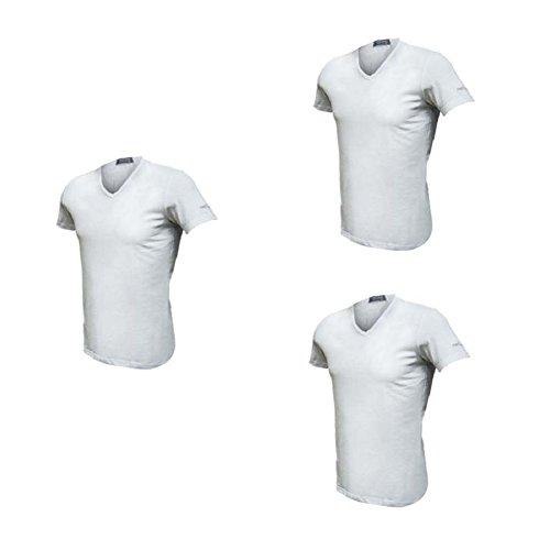Enrico Coveri 3 t-Shirt Uomo Mezza Manica Scollo a V Cotone bielatico Art ET1001 (5/L, Bianco)