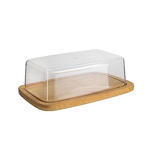 Cook Concept KA2140 Beurrier Bambou et Plastique Beige et Transparent H6 x 12,5 x 20,5 cm