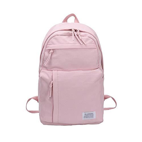 Alvnd Mode Teenager-Meisjes zeildoekrugzak portemonnee in de open lucht waterdichte rugzak vrije tijd licht tas college grote capaciteit tas student 45 * 15 * 27cm roze