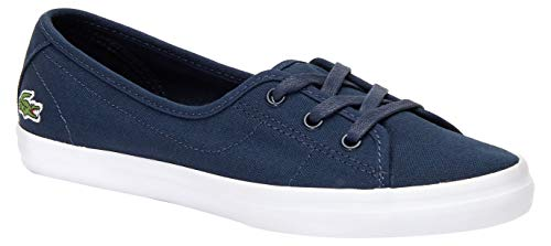 Lacoste Women's Ziane Chunky Sneaker, Navy Canvas/White, 6 Medium US