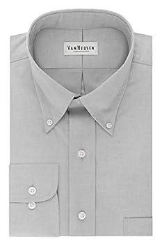 Van Heusen Men s Dress Shirt Regular Fit Non Iron Solid French Grey X-Large