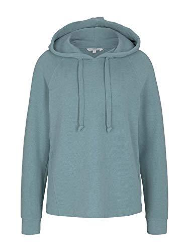 TOM TAILOR Denim Damen 1024508 Basic Hoodie Sweatshirt, Mineral Stone Blue, XL