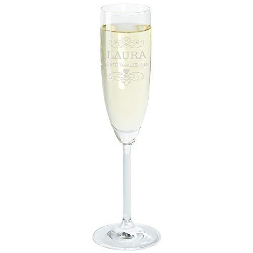 """Geschenke 24 Sektglas für Trauzeugin: graviertes Sekt Glas """"Beste Trauzeugin"""" für Frauen – persönliches Trauzeugengeschenk zur Hochzeit mit Gravur - mit Wunschname personalisiert"""