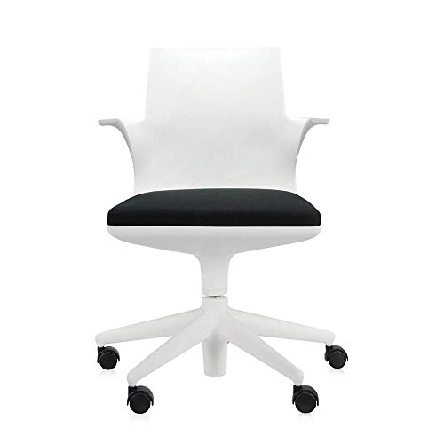 Kartell Spoon Chair White Armchair with Black Pillow