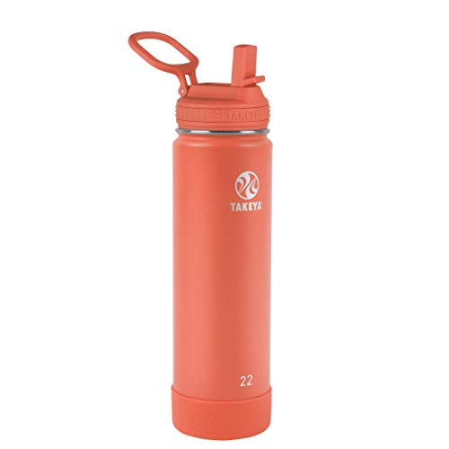 Takeya Actives Insulated Water Bottle w/Straw Lid, Coral, 22 Ounce