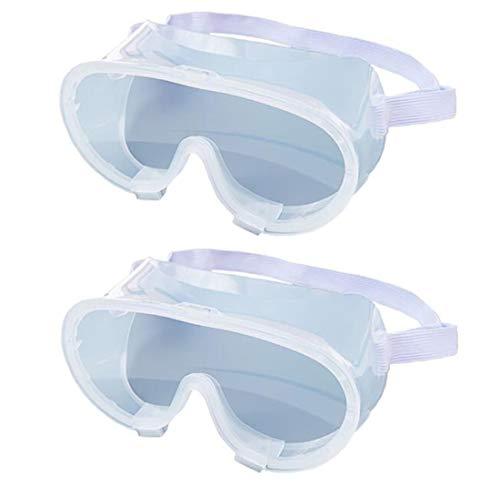 HPYEP 2 Sets of Transparent Medical Goggles,Splash Proof Anti-Fog Anti-Impact Totally Closed Medical Isolator Blindfold