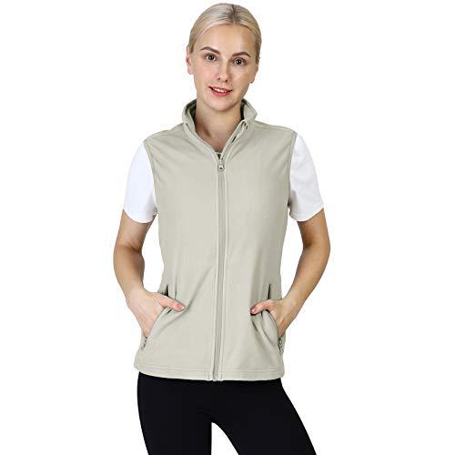 Outdoor Ventures Women's Fleece Vest, Lightweight Warm Vest Outerwear Sleeveless Jacket with Zip Up Pockets for Hiking Beige