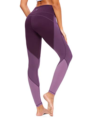QUEENIEKE Damen Yoga Hosen Color Blocking Training Laufende LeggingsGröße 14 Farbe Blackberry lila