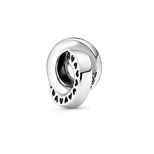 LIIHVYI Pandora Charms para Mujeres Cuentas Plata De Ley 925 Dos Círculos Circundantes Sufren Un Regalo De Joyería Compatible con Pulseras Europeos Collars
