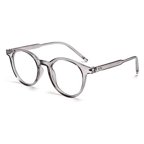 Fashion Vintage Ultraleichte runde Strahlenschutzbrille mit blauem Licht, blockierende Brille für Computerspiele, flache Spiegelbrille (grau)