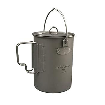 Jolmo Lander marmite de Camping avec poignée Pot en Titane Pur Casserole de randonnée ultraléger 900ml/30oz