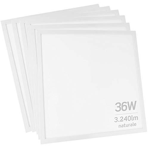 6x Pannelli LED 36W 60x60cm 3240 lumen - Luce Bianco Naturale 4000K - Fascio Luminoso 120°