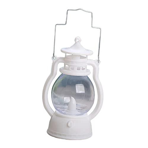 Baoblaze Luz de vela colgante, lámpara de aceite LED antigua Retro, linterna de HURACÁN para mineros, con batería para mesa de árbol de jardín, lectura, barra - Blanco de leche