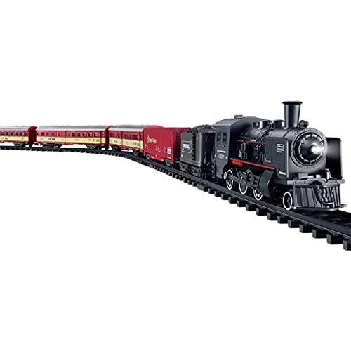 SM SunniMix Juego de Tren Eléctrico Clásico con Locomotora de Vapor, Locomotora...