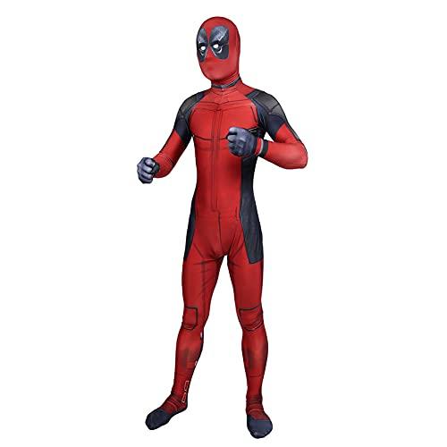 MIANslippers Deadpool Kids Cosplay Spandex Traje Adulto 3D rol Juego Estilo Body Halloween Traje de Navidad Mascarada Performance Monosuitos,Red-Kids(145~155)