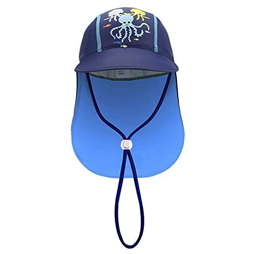 JIAHG Kinder Sonnenhut Cap UV-Schutz UPF 50+ Sommerhut Baby Breite Krempe Mütze Sonnenhüte Schirmmütze mit Nackenschutz und Verstellbarem Kinnriemen