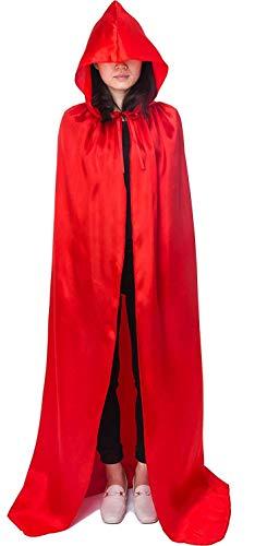 Lovelegis Capa roja con Capucha - Adultos - Largo - satn - Vampiro - drcula - Nosferatu - Disfraz - Carnaval - Halloween - Cosplay - Hombre - Mujer