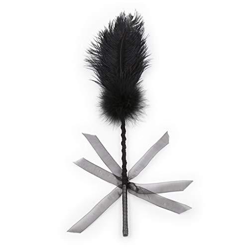 WWJ XS Feather Teasing Stick para parejas, suave y cmoda, camiseta de sol, color negro