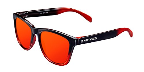 NORTHWEEK Gradiant Gafas de sol, Shine Black/Red Polarized, 45 Unisex