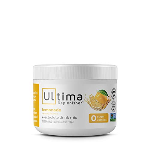 Lemonade, 30 Serving Canister — Sugar Free, 0 Calories, 0 Carbs — Gluten Free, Keto, Non-GMO, Magnesium, Potassium, Calcium from Ultima Health Products, Inc. Ultima Replenisher Electrolyte Hydration Powder.