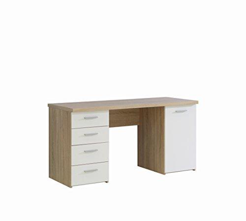 FORTE Net106 Schreibtisch mit 4 Schubkästen und 1 Tür, Holz, sonoma eiche + weiß, 145 x 60 x 76.3 cm