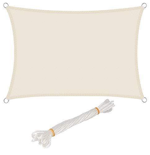 WOLTU Toldo Vela 2x3m Impermeable Prevención Rayos UV Solar protección Piel Resistente para Jardín Patio Exteriores PES Color Crema GZS1189cm01