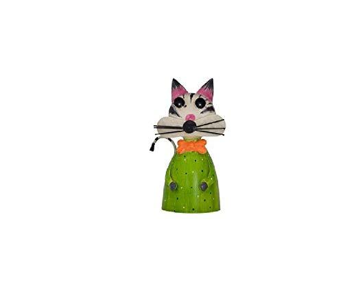 Bavaria Home Style Collection- Katze Zaunfigur Gärtner Zaunlattenfigur Zaunhocker Pfostenhocker Dekofigur Deko für Garten Teich Große Auswahl (grün)