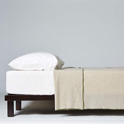 LANEROSSI - Tagesdecke für Doppelbett, 210 x 250 cm, Decke aus Wollmischung Lambswool von Merinos, Beige