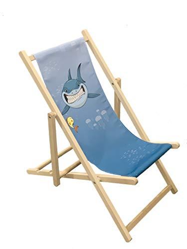 Holz-Klappstuhl für Kinder mit Hai-Motiv, für Outdoor, Garten, Terrasse, Balkon, Camping