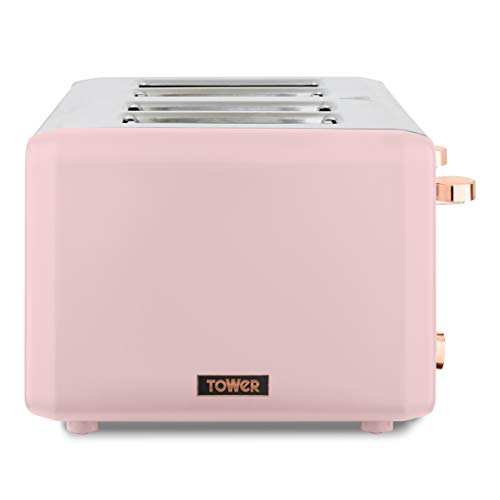 Tower T20051PNK Cavaletto 4-Slice Toaster with Defrost/Reheat, Stainless Steel, 1800 W, Marshmallow Pink and Rose Gold