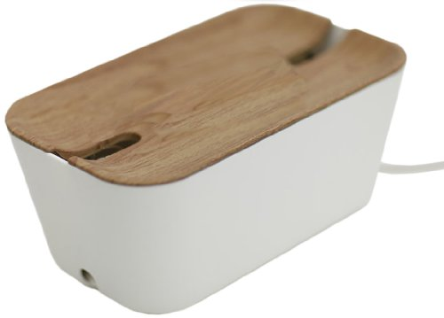 Bosign 291169 HIDEAWAY Organizador de Cables, Caja para Cables y Estación de Carga, color Blanco/Natural, Mediano, 30 x 18 x...