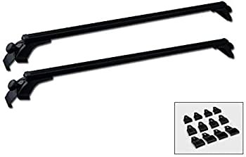 MPH Production 2Pcs 48   120cm  Universal Fit Black Adjustable Aluminum Window Frame Roof Rack Rail Cross Bars Utility Cargo Carrier with 3 Pairs of Mounting Clamps  2 Pcs