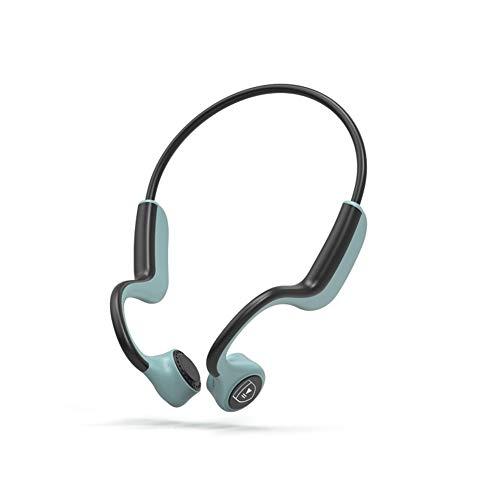 LUCHONG Auriculares inalámbricos de conducción ósea, auriculares deportivos inalámbricos de oído abierto, música a prueba de sudor, respuesta telefónica para correr, senderismo, conducir, color verde