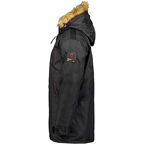 Geographical Norway AGADA MEN - Men's Warm Padded Down Jacket - Men's Winter Hot Lined Coat Jacket - Long Sleeve Windbreaker - Lightweight Fabric Quality Padding BLACK L