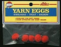 Atlas Mike's Yarn Salmon Fishing Bait Holder Eggs (Pack of 4), Red, Size 6