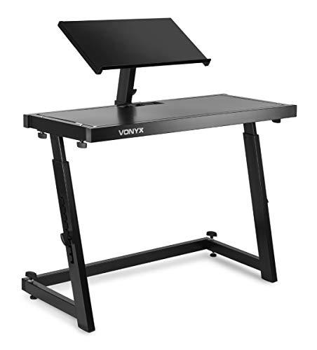 Vonyx DS20 - DJ-Pult, Equipment-Ständer, Laptop-Ständer, transportabel, Mixer, höhenverstellbare Tischfläche, justierbare Standfüße, schwarz