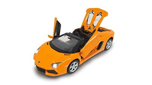 Jamara 405202 Street Kings Lamborghini Aventador LP700-4 Roadster 1:32 Diecast orange – Rückzugmotor, Scheinwerfer/Rücklichter, realistischer Sound, Türen öffnen, detailgetreues Design