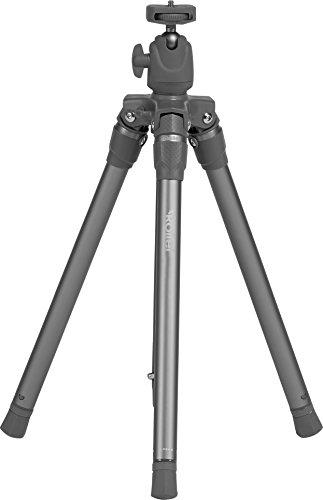 Rollei Compact Traveler Star S3 Plus - Tripode de Viaje Muy Ligero de Aluminio (732 g incl. Cabezal Esférico Panorámico), Columna Central Giratoria para Macro Fotografía, Capacidad de carga máxima 2,5 kg - Plateado