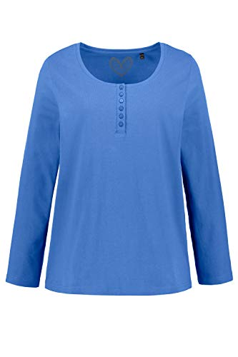 Ulla Popken Damen Shirt mit Knopfleiste, Langarm Bluse, Blau (Blue 74), 46/48 EU
