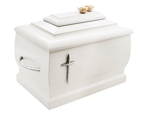 Blanco madera maciza con ataúd Silver Cross y rosas Funeral