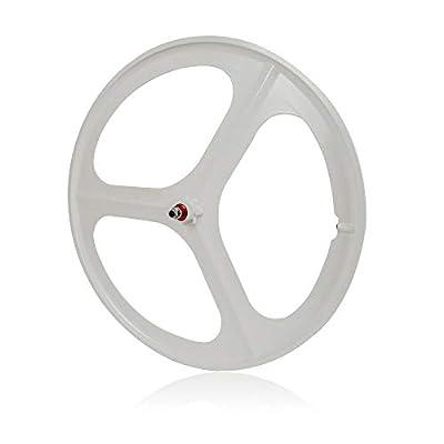 CNCEST 700C 3 Spoke Wheels Single Speed Bicycle Wheels Fixed Gear Front White Wheel Set Bike Wheels 17 Teeth (Front Wheel White)